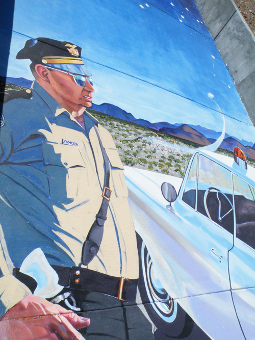 painting of Lonnie Zamora mural by Erika Burleigh