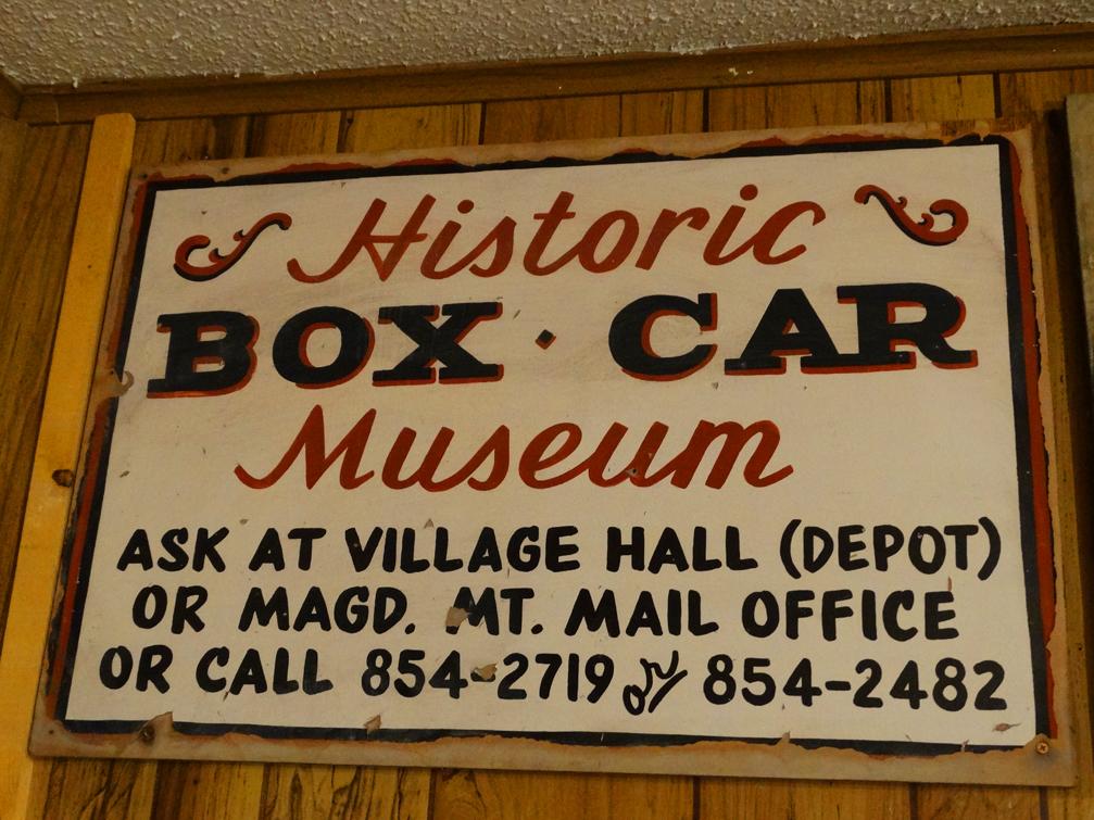 Box Car Museum Sign