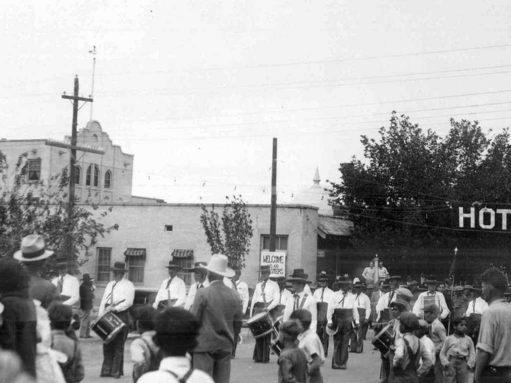 Historic Photo of Parade by Hotel Valverde