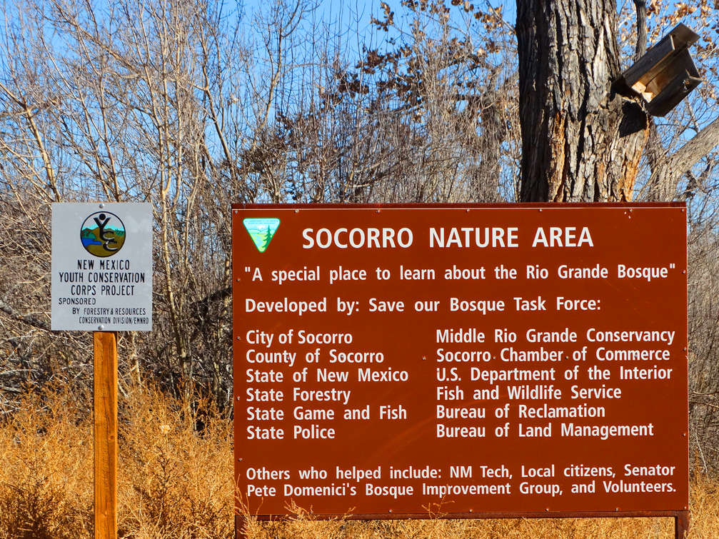 Socorro Nature Area Sign